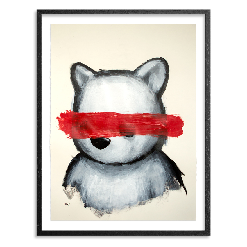 Bear and the Red Censor Bar 22.25 x 30  Inch  Acrylic on 290gsm Coventry Rag Fine Art Paper Float mounted in 1.5 inch black wood shadow box frame with acid free backing SOLD