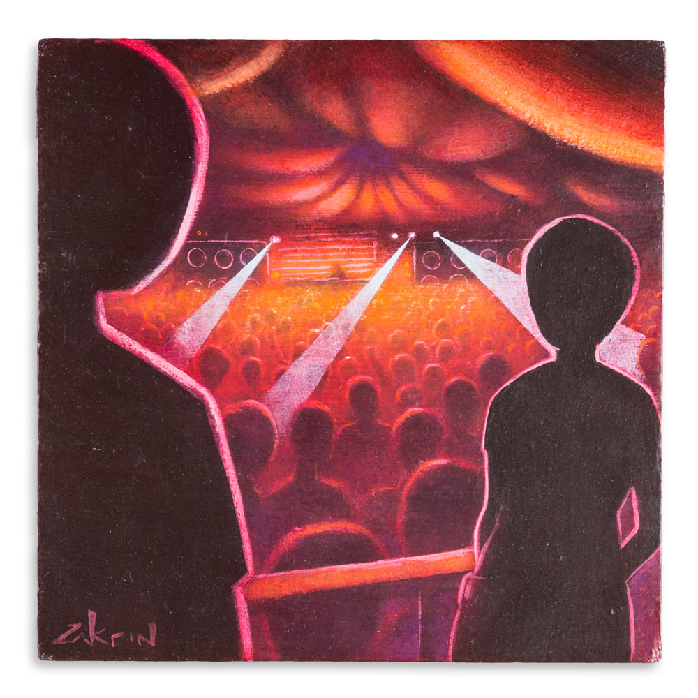 "Ravescape #2 - The  Encounter 12"" x 12"" Acrylic on Panel $450"
