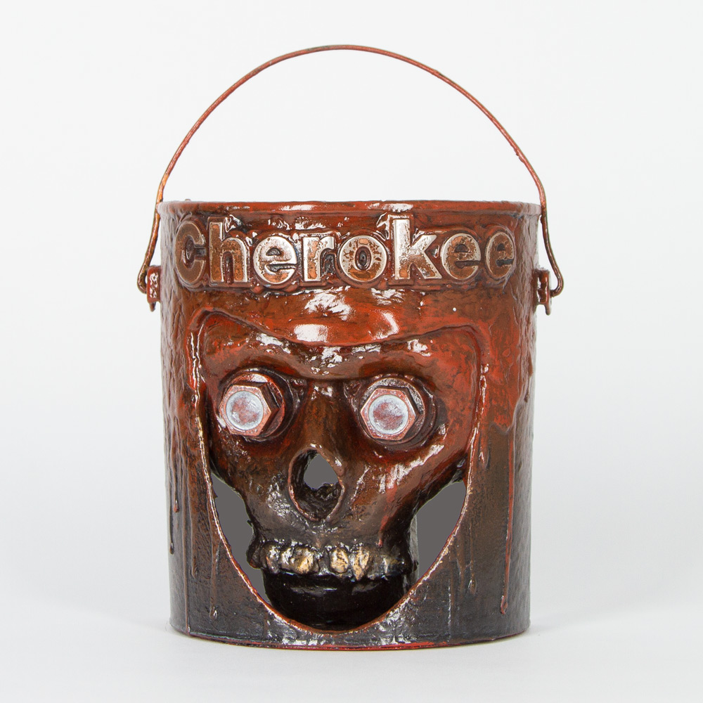 "Bucket Head #15 (Cherokee) Approx. 7"" x 11"" Paint Can and Mixed Media $350"