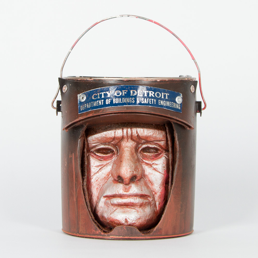 "Bucket Head #13   Approx. 7"" x 11"" Paint Can and Mixed Media   SOLD"