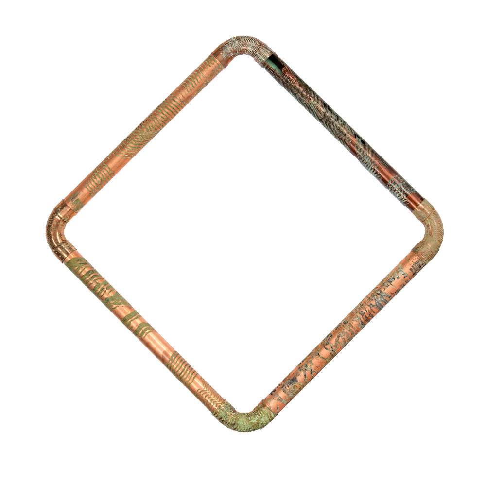 "Negative Space    25.5"" x 25.5""    Copper Pipe Manually Etched with Acid   $5,500"