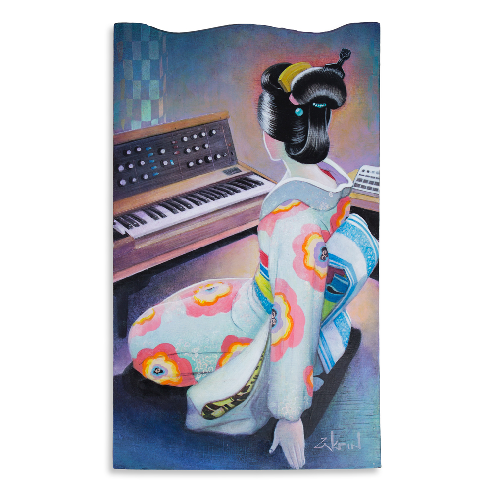 "Kimono and Minimoog 10"" x 16"" Acrylic on Panel SOLD"