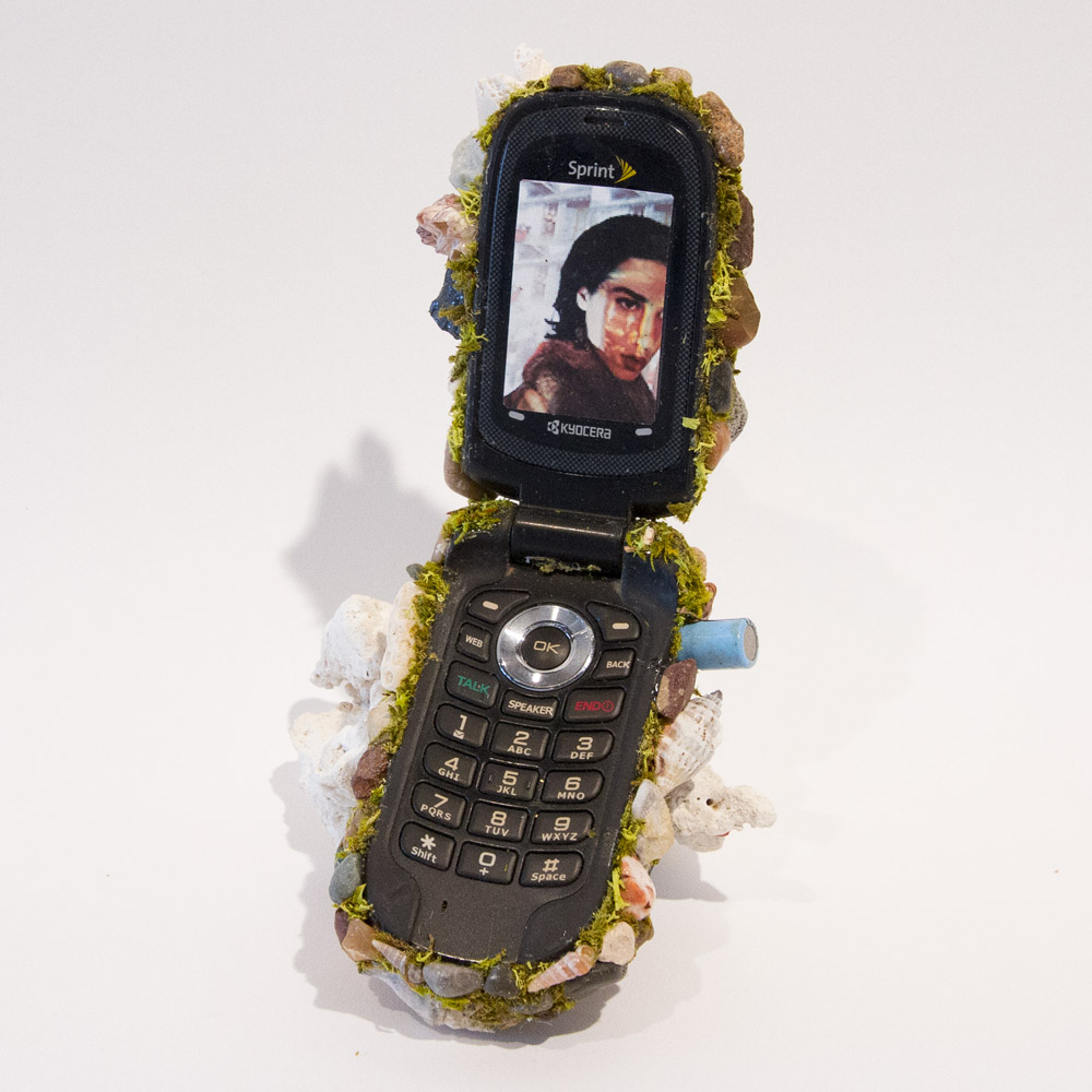 "Selfie Perception I 7"" x 4"" x 4"" Mixed Media on Cell Phone $275"