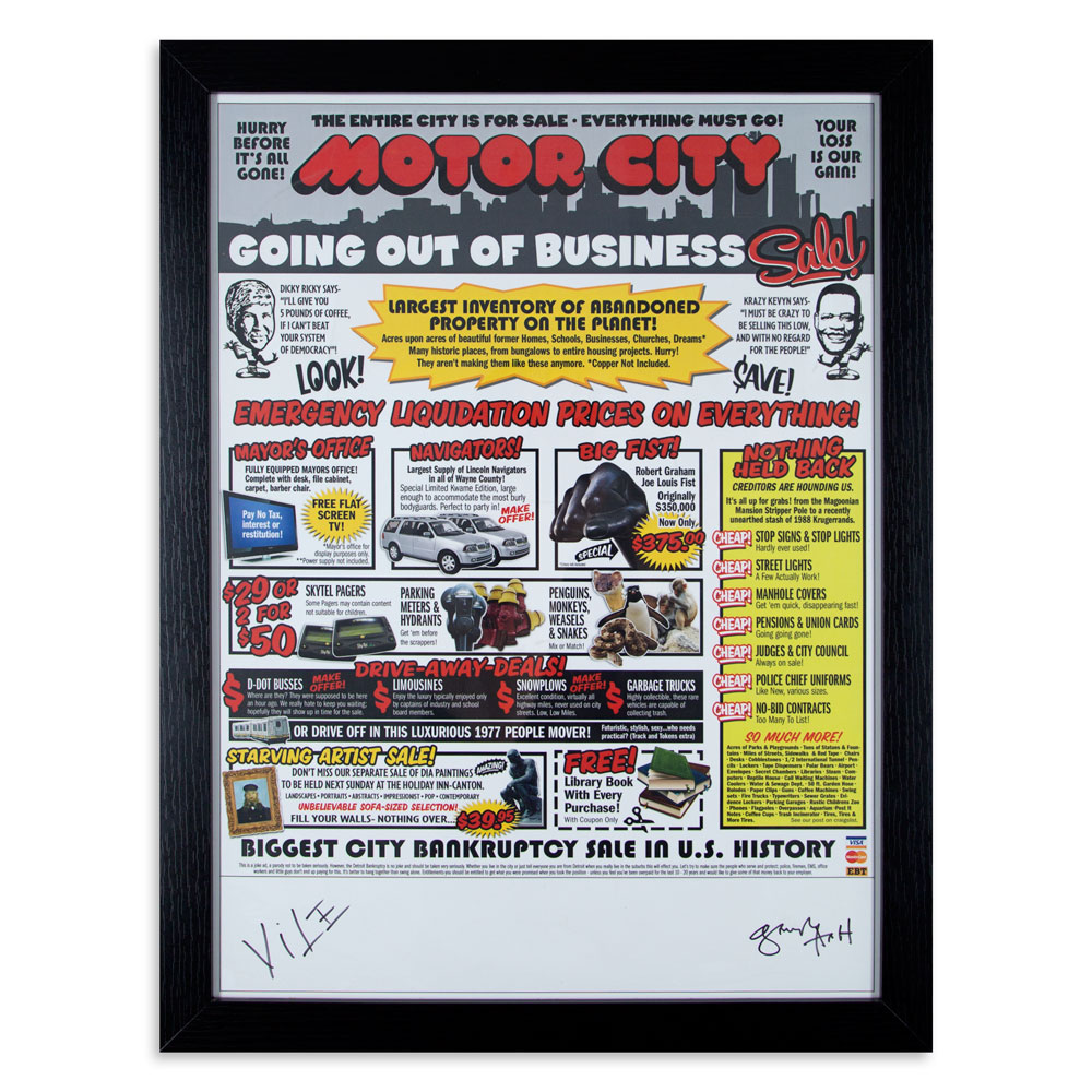 "Motor City Going Out Of Business 17"" x 21"" Test Proof of Newspaper Ad SOLD"