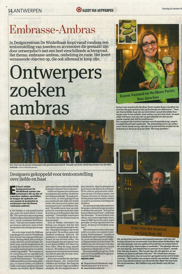 Gazet van Antwerpen 22 octobre 2013