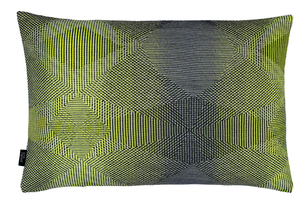 Lepidoptera lemon - Cushion      45 x 70 cm       front side:    wool 95% silk 5%     back side: light grey linen 100%