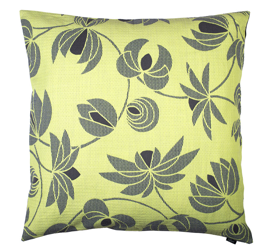 Volubilis lemon - Floor cushion  90 x 90 cm front side: wool 96% silk 4%  back side: grey coton 80% polyester 20%