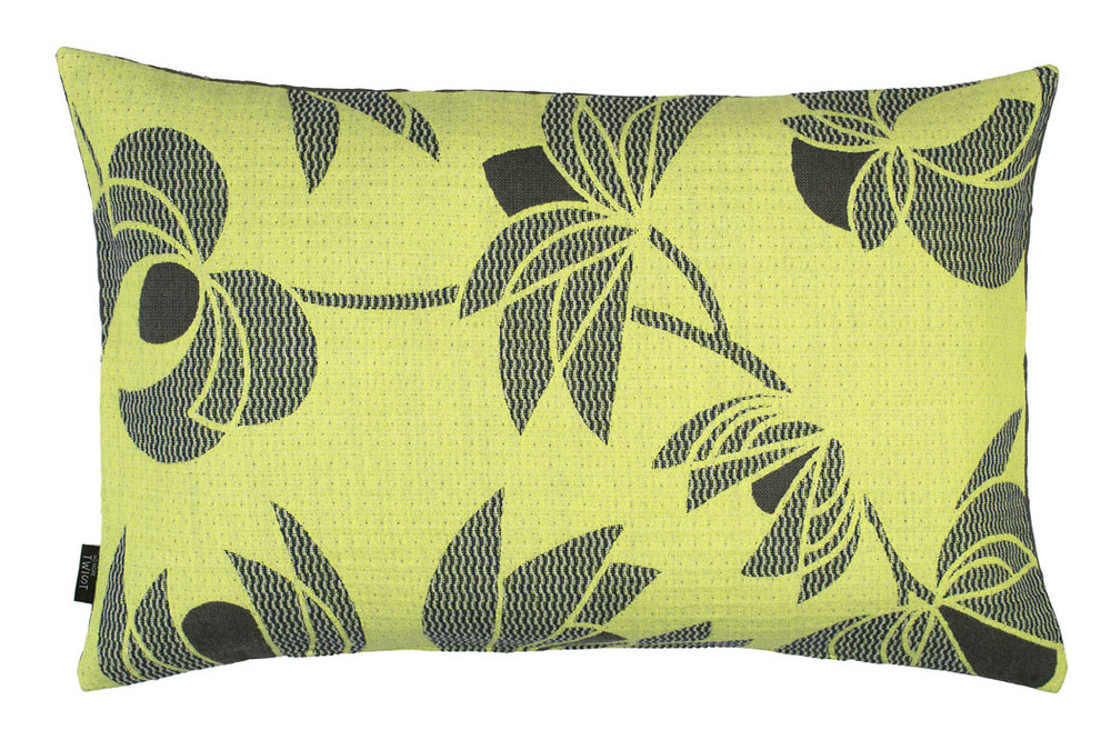 Volubilis lemon - cushion  45 x 70 cm  front side: wool 96% silk 4%  back side: light grey linen 100%