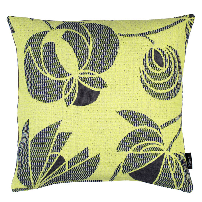 Volubilis lemon - cushion  45 x 45 cm  front side: wool 96% silk 4%  back side: light grey linen 100%