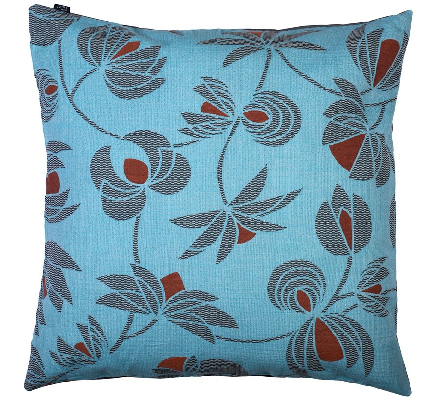 Volubilis blue - floor cushion       90 x 90 cm       front side:    wool 96% silk 4%     back side: grey coton 80% polyester 20%