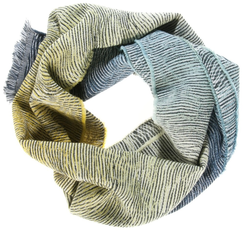 Lazure/green shades - scarf 47 x 200 cm  Composition:  wool 95%, silk 5%