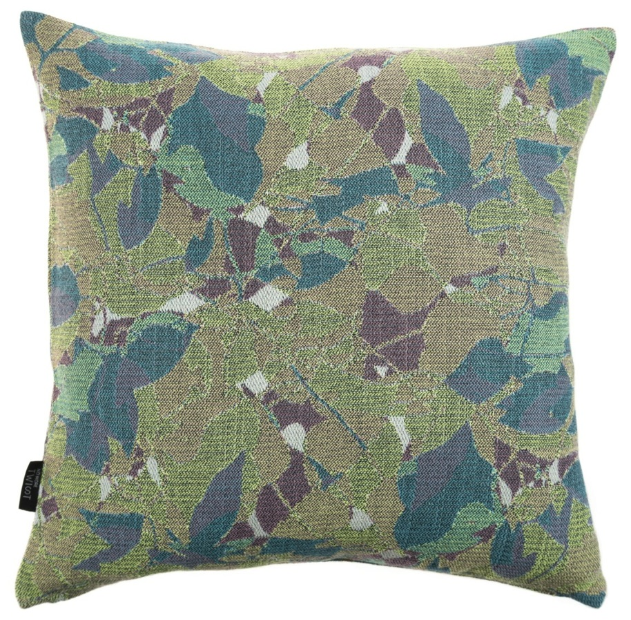 Feuillage/green - cushion S ≅ 45 x 45 cm  Composition: jacquard woven fabric 94% wool 6% silk
