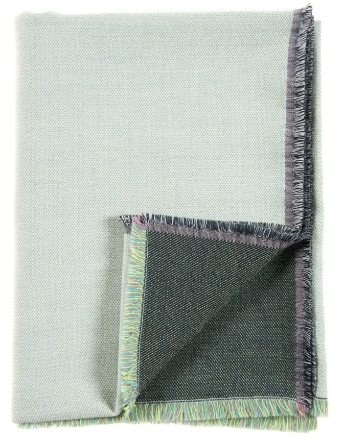 Diffraction/green - Throw ≅ 142 x 110 cm  Composition: jacquard woven fabric 95% wool, 5% silk