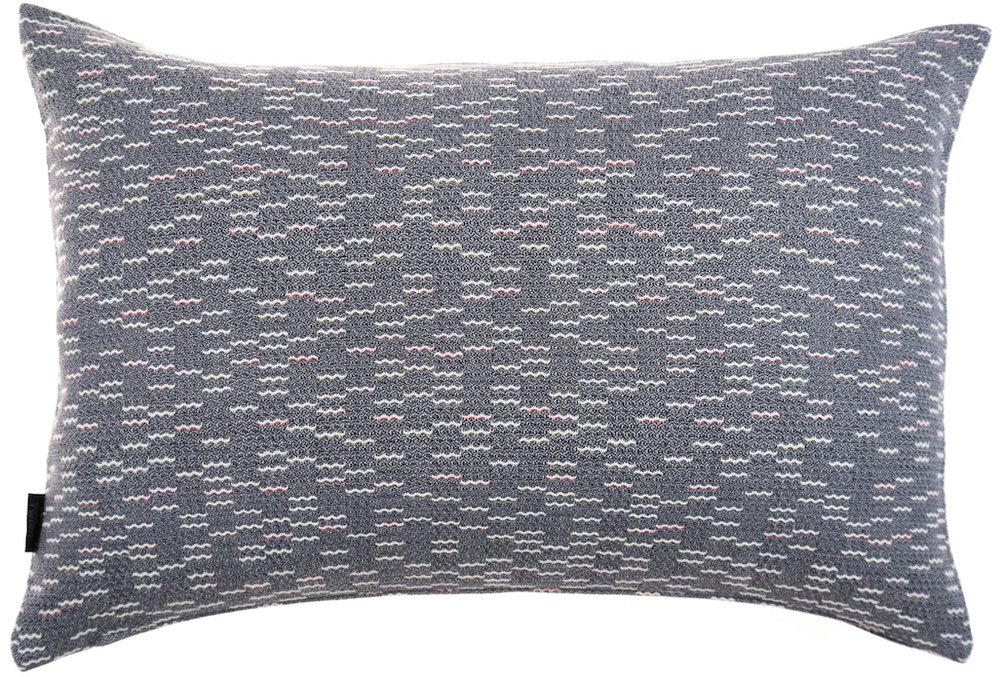 Clapotis/blue - cushion M ≅ 44 x 69 cm Composition: jacquard woven fabric 75% wool 20% viscose 5% silk