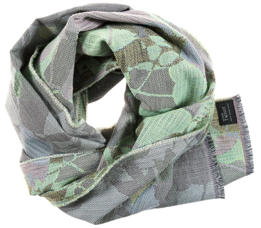 Ombrage/green- Scarf/étole 47 x 181 cm  Compositon: jacquard woven fabric 78% wool 16% viscose 6% silk