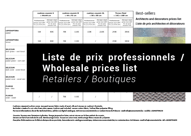Télécharger la liste de prix professionnel / Download the Wholesale prices list