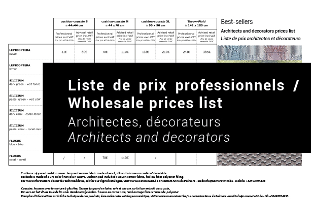 Télécharger la liste de prix pour les décorateurs et architectes / Download the prices list for  interior decorator and architects