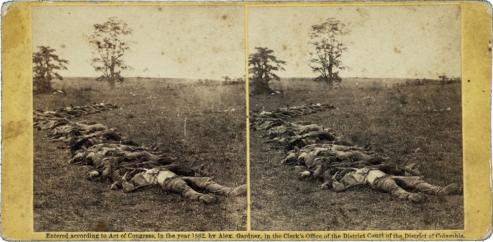 "An 1862 Alexander Gardner ""stereograph"" from the Battle of Antietam. [Library of Congress]"