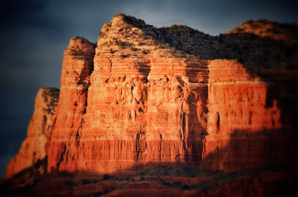 A last-minute sunset view of Courthouse butte, just south of Sedona, Arizona.