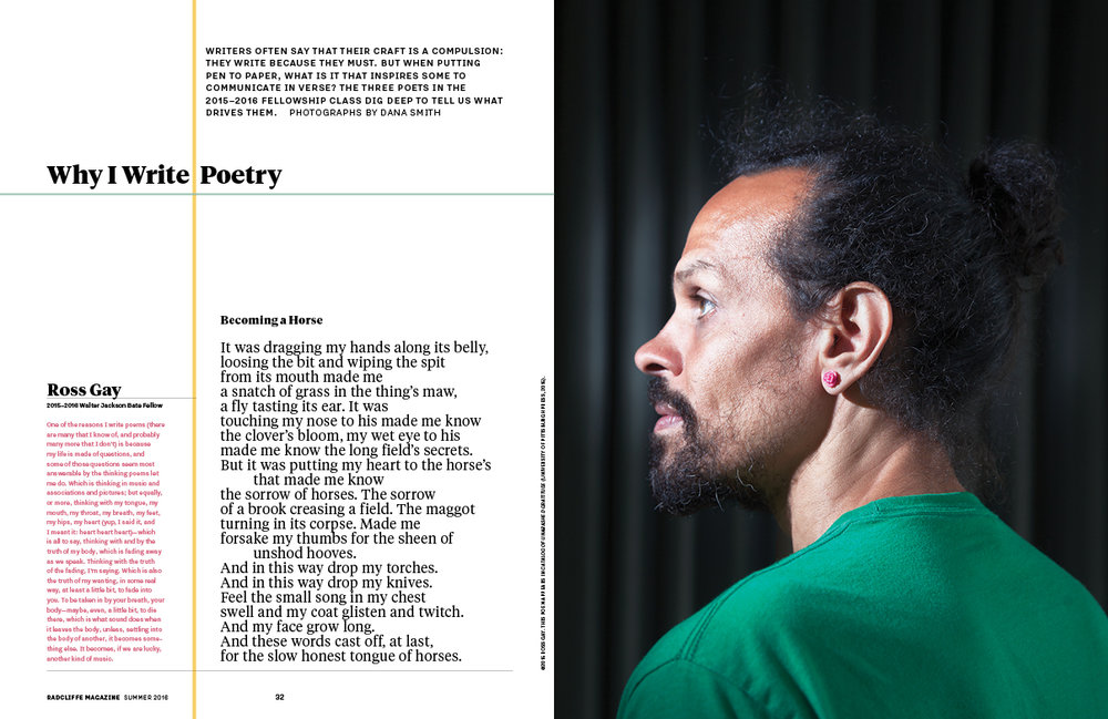 A secondary feature story on a group of poets among the 2016 Fellows. (Photographs by Dana Smith)