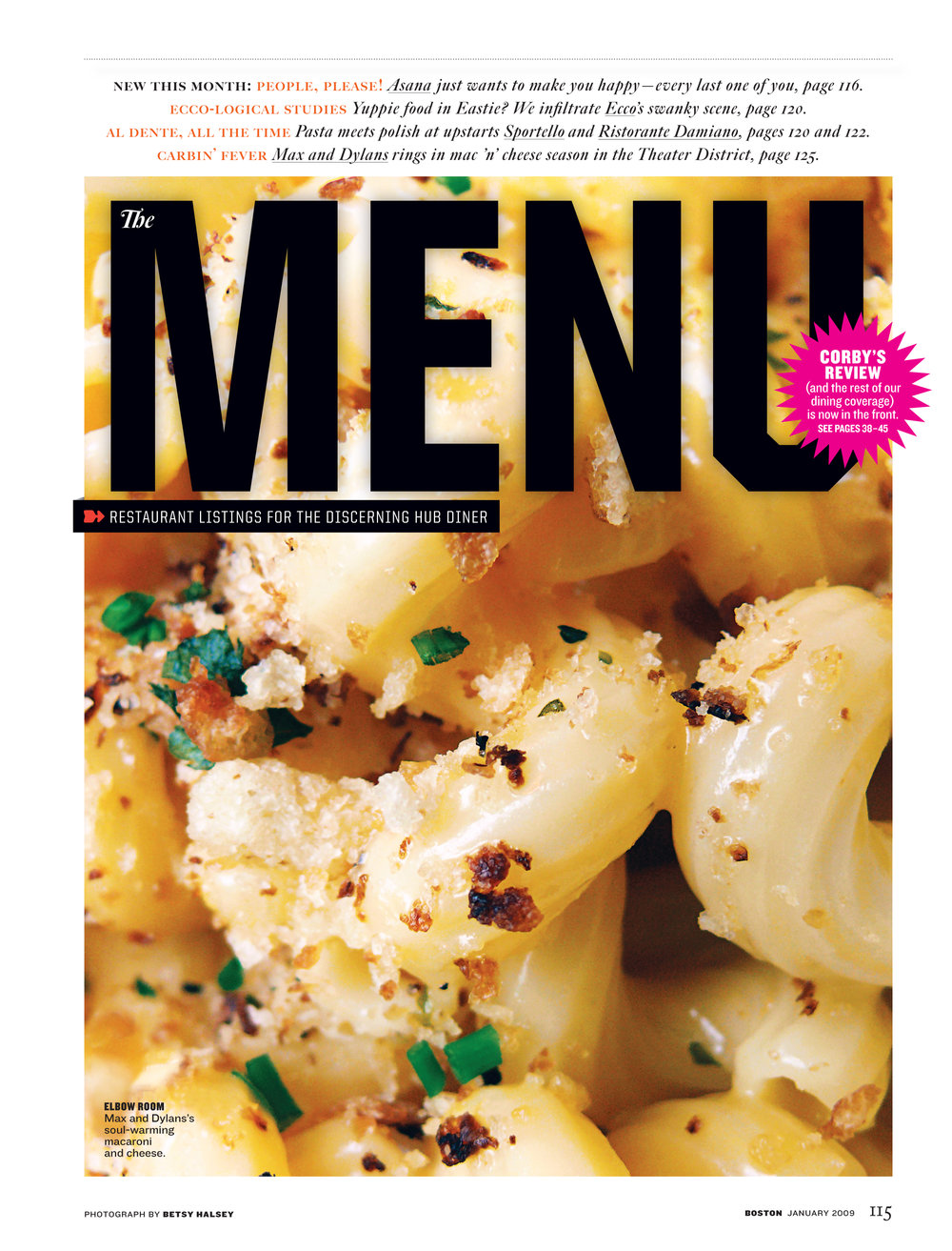 """The Menu"" section contains restaurant news and listings,"
