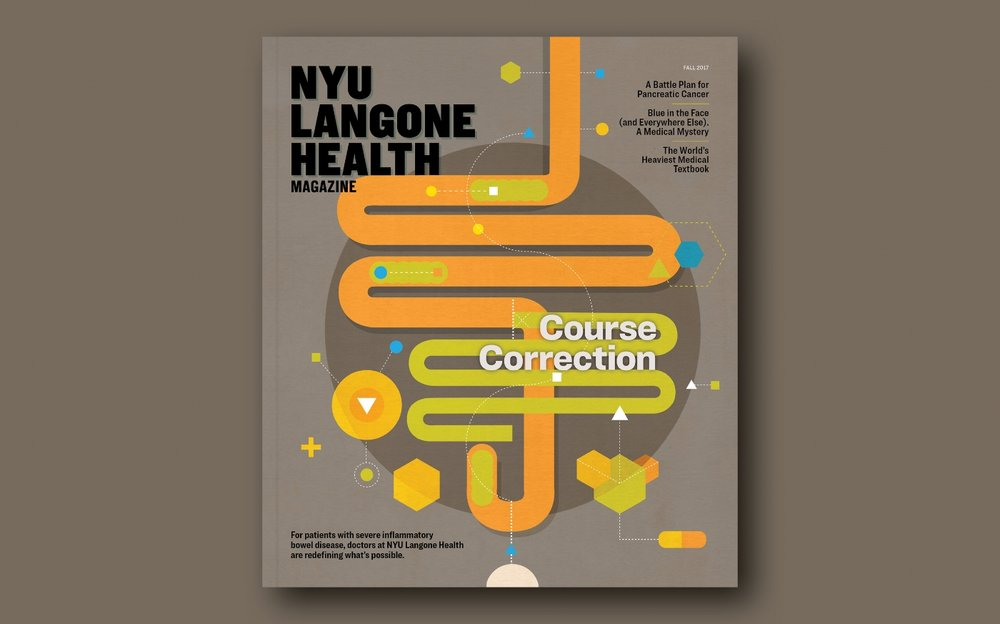 The redesigned cover and logo of NYU Langone Health magazine. Illustration by  Chad Hagen