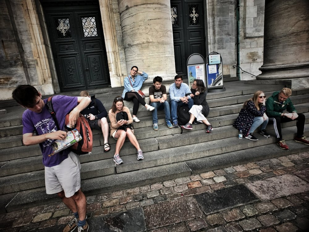 The family regroups on the steps of Frederik's Kirke.
