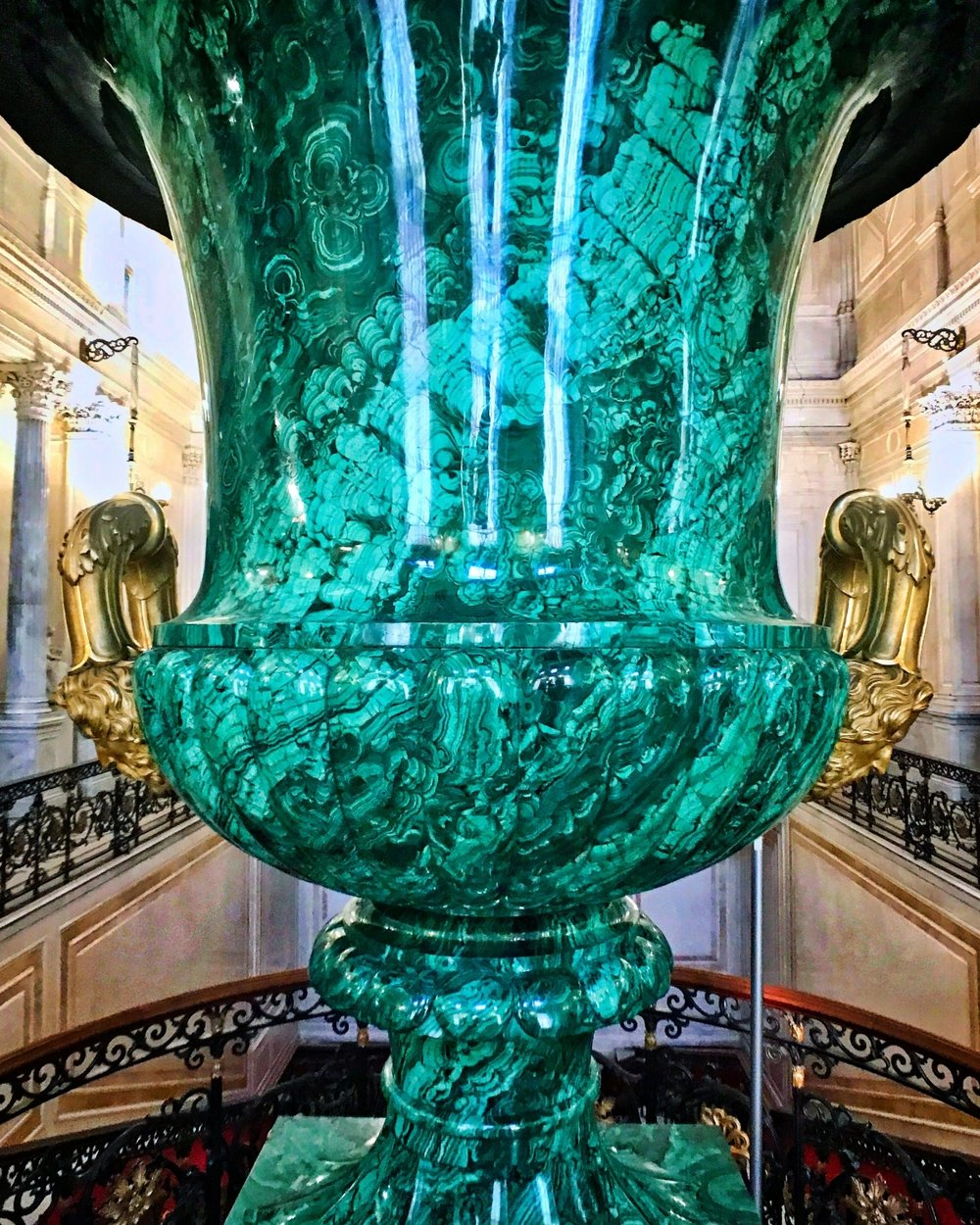 A giant malachite urn