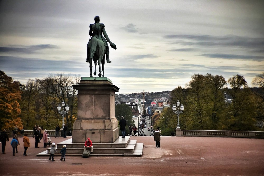 View from the Royal Palace down Karl Johans Gate to Oslo center