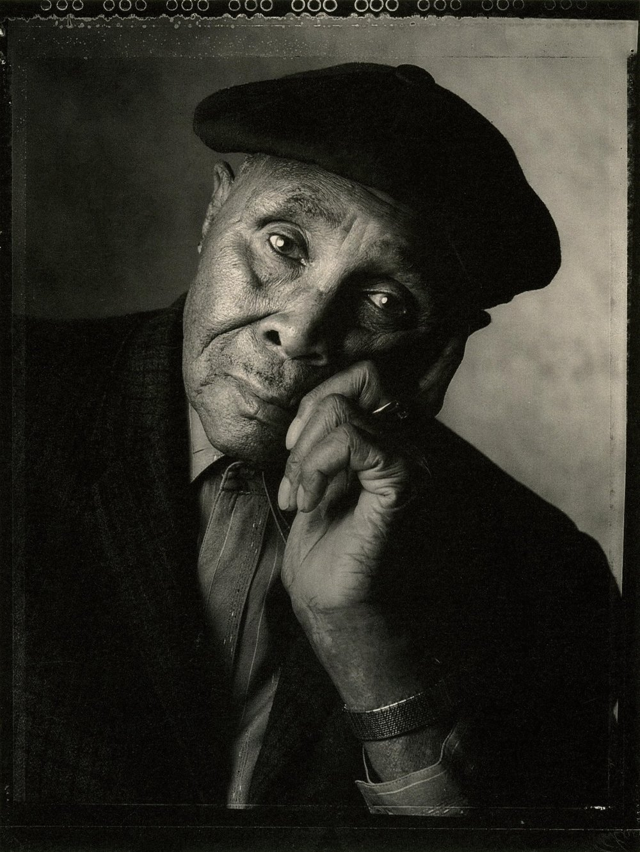 "Blues piano player Albert ""Sunnyland Slim"" Luandrew, photographed by Marc Hauser for  Musician  magazine."