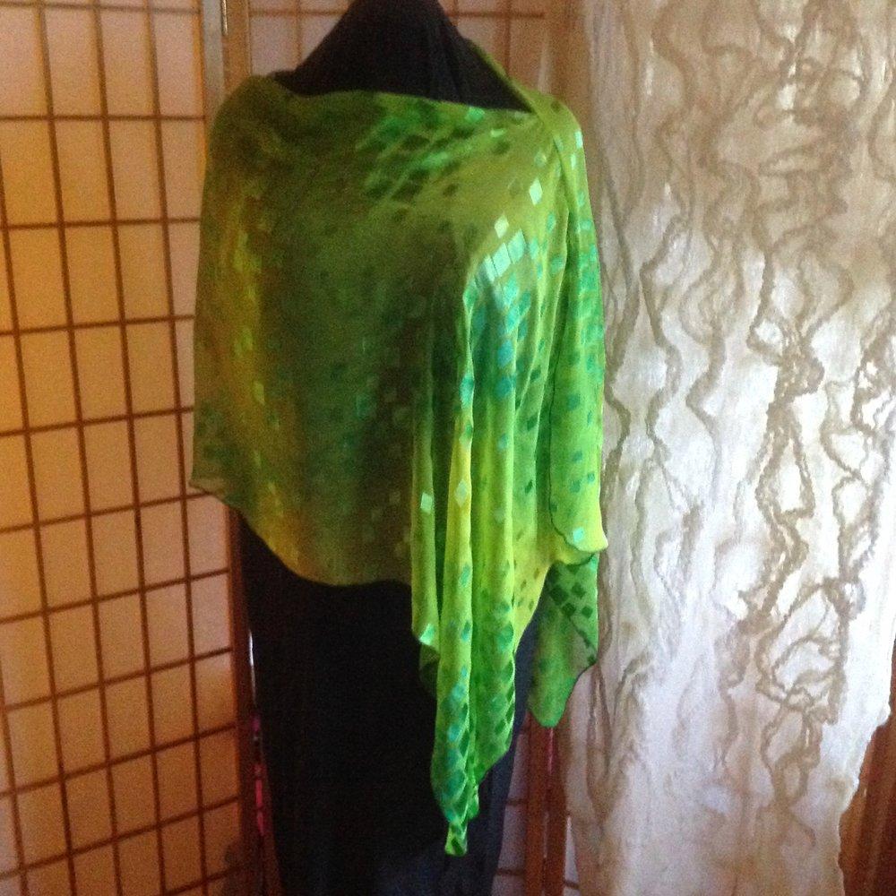Shibori dyed silk poncho