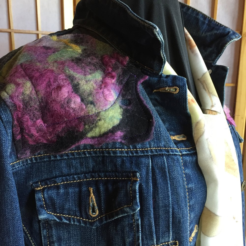 Upcycled jean jacket with felted wool and silk
