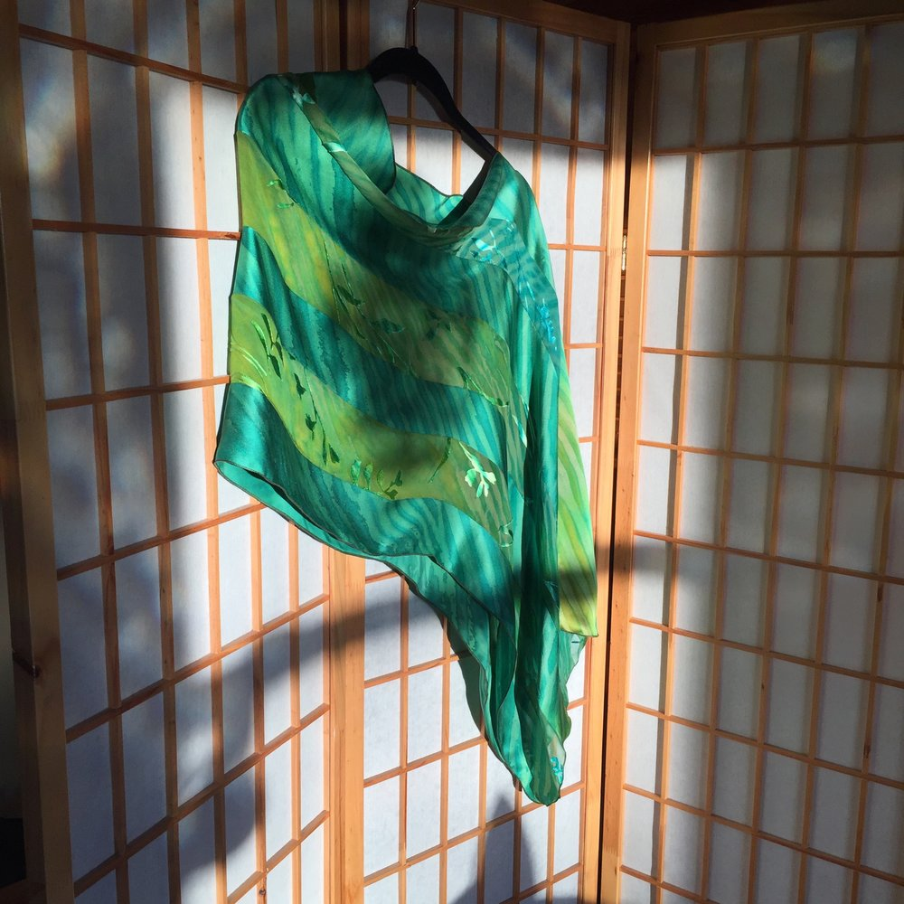 Shibori Silk Charmeuse and Devore Poncho