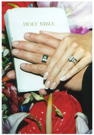 Bride and Groom hands on Bible