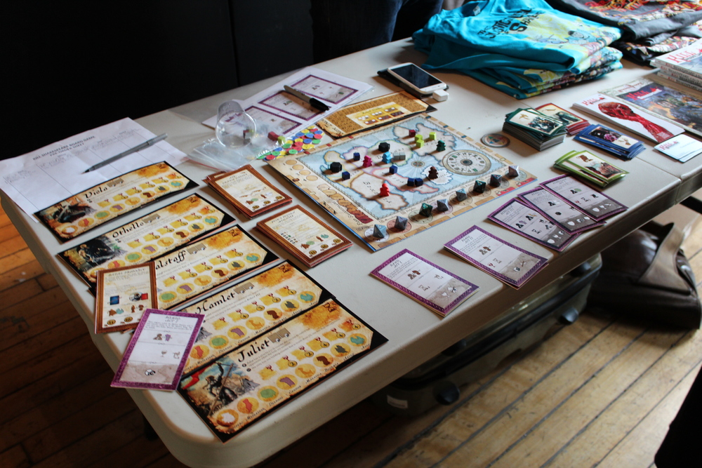 The prototype version of the Kill Shakespeare board game at the Bit Bazaar.