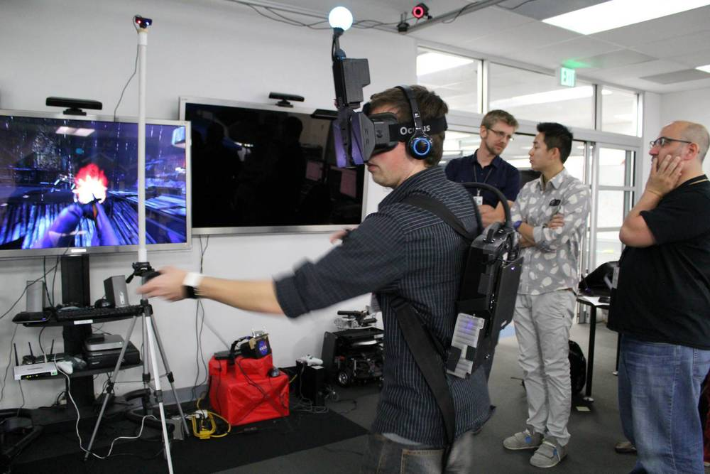 Project Holodeck became Survios, which is developing a full-body motion tracking unit that eliminates the need for too much camera tracking. The trade-off is that for now, you look insane wearing it.