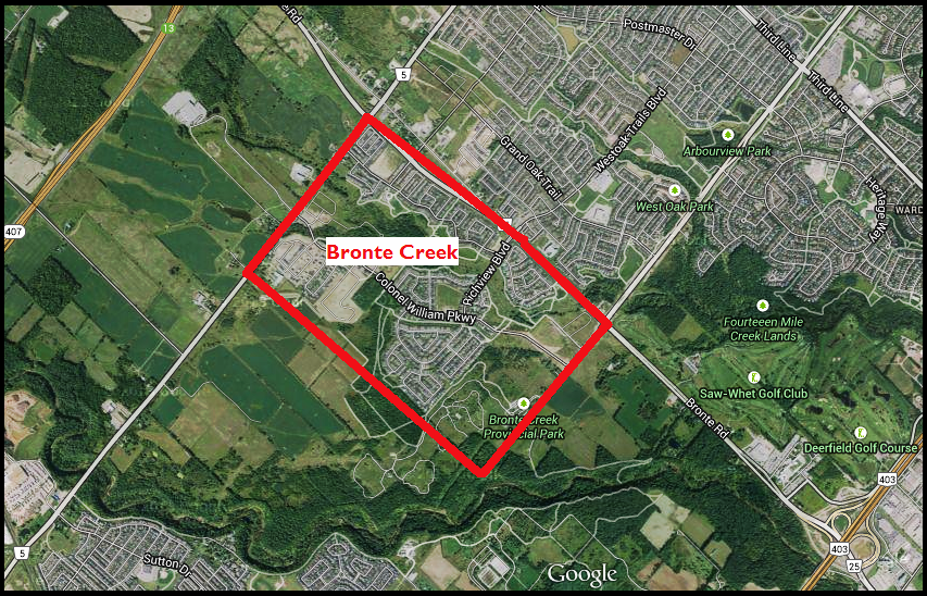 Bronte Creek is located on the very North West Corner of Oakville. The area is located just west of Bronte Road, North of Upper Middle and South of Dundas Street.