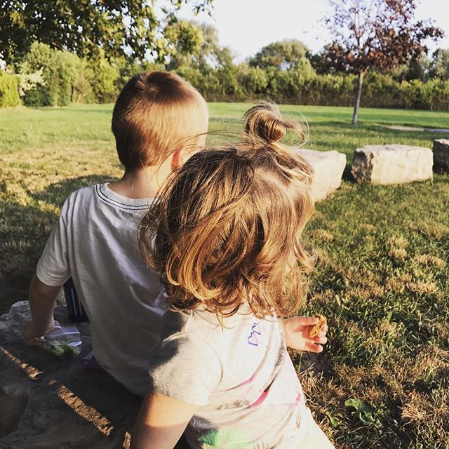 Checking out his new school with an impromptu picnic. #kindergartenbound #lifeinoakville #buyinginoakville #kindergarten #oakville #growinguptoofast