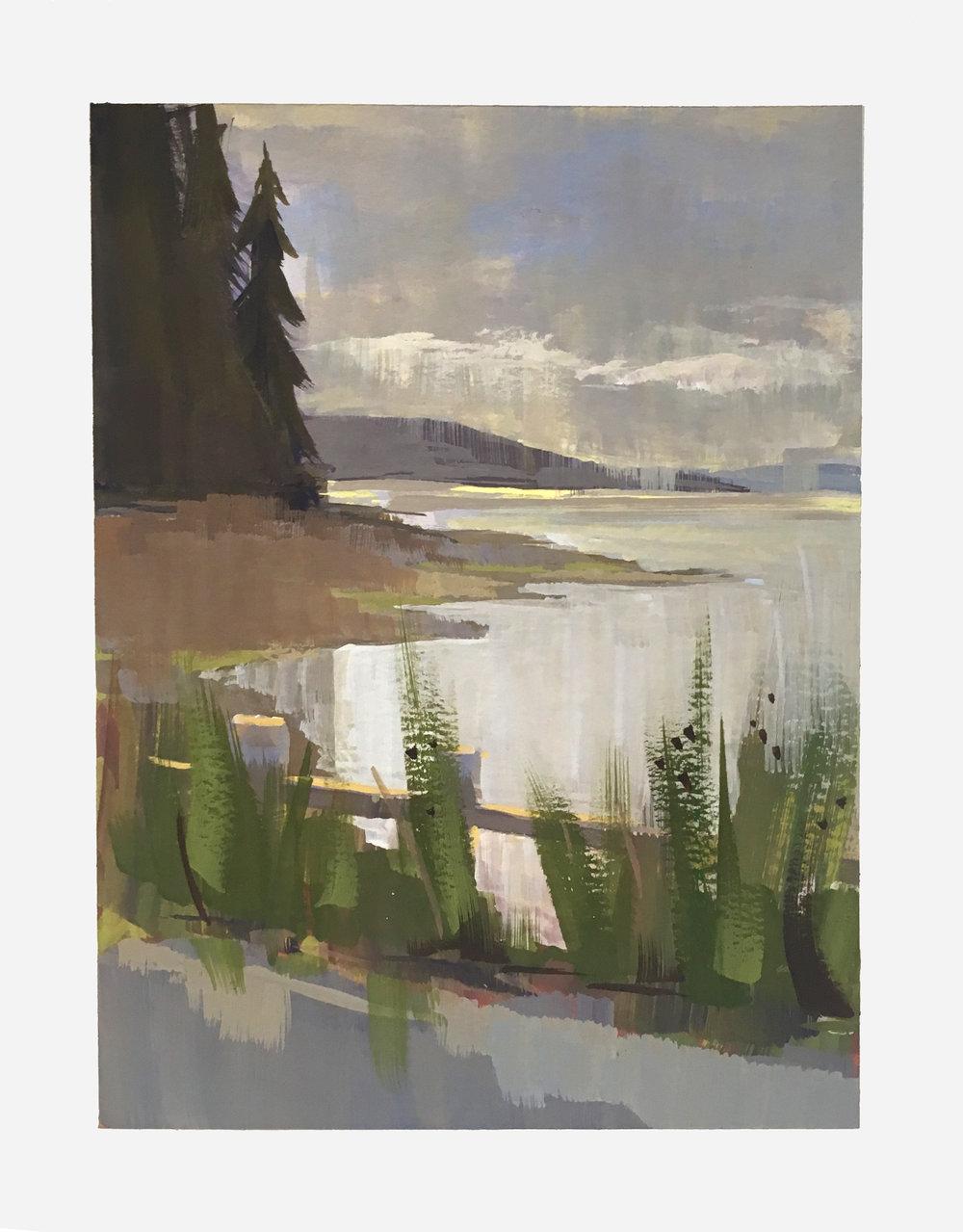 Plein Air, Whidbey Island, WA  Gouache on Paper  6x8