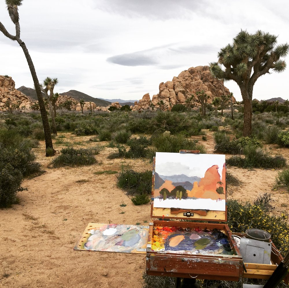 Joshua tree painting in progress