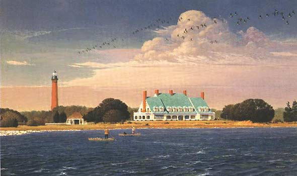This is a painting of the Whalehead Club and Currituck Lighthouse by Robert Dance