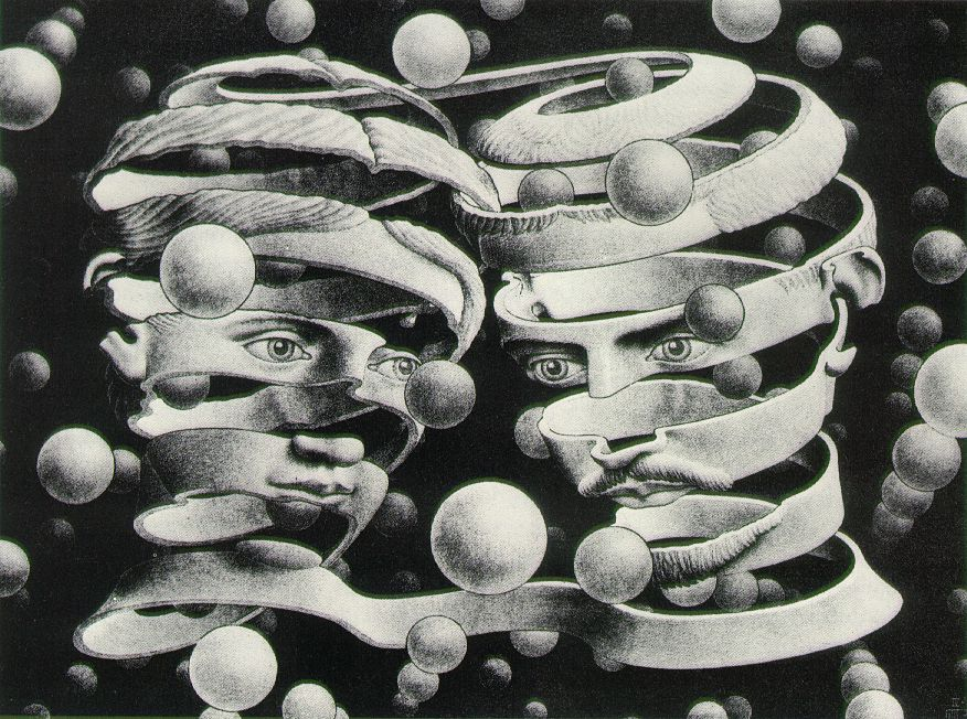 cavetocanvas: Bond Of Union - MC Escher, 1956