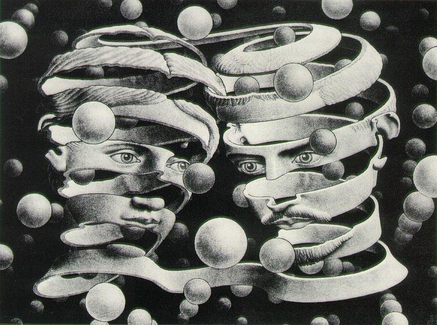 cavetocanvas: Bond Of Union - MC Escher, 1956