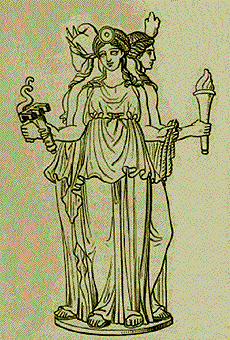 Hecate, Greek goddess of the crossroads; drawing by Stéphane Mallarmé in Les Dieux Antiques, nouvelle mythologie illustrée in Paris, 1880