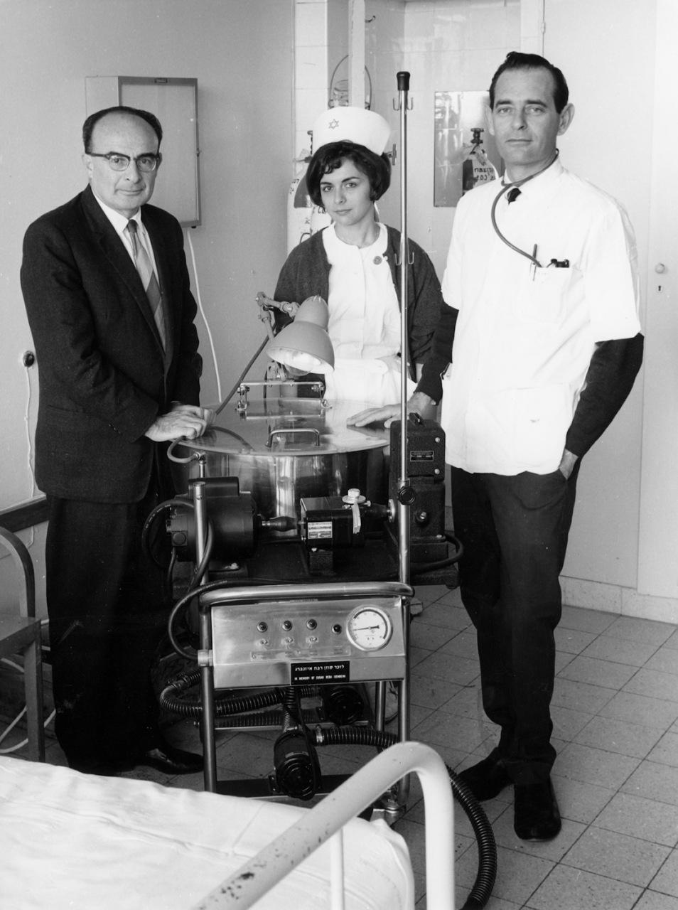 the first dialysis machine at Rambam hospital, Haifa, Israel, 1965