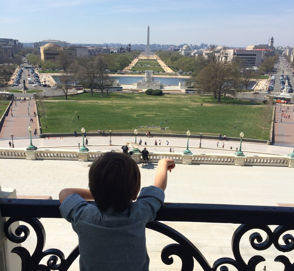 Taking in the view on the balcony of the capitol.