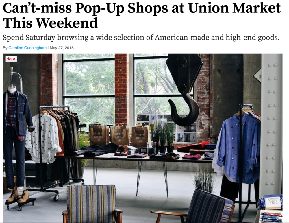 5.27 Washingtonian blog mention by Caroline Cunningham leading up to American-made roving marketplace, Northern Grade pop up at Union Market