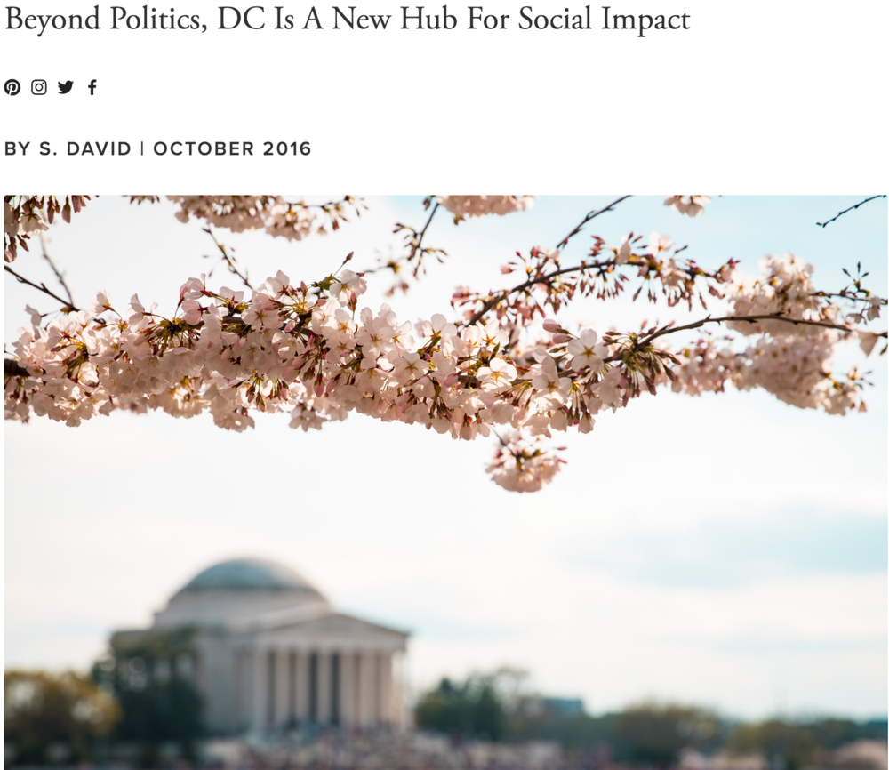 "10.14 The Good Trade ""Beyond Politics, DC Is A New Hub For Social Impact,"" by Stephanie David"