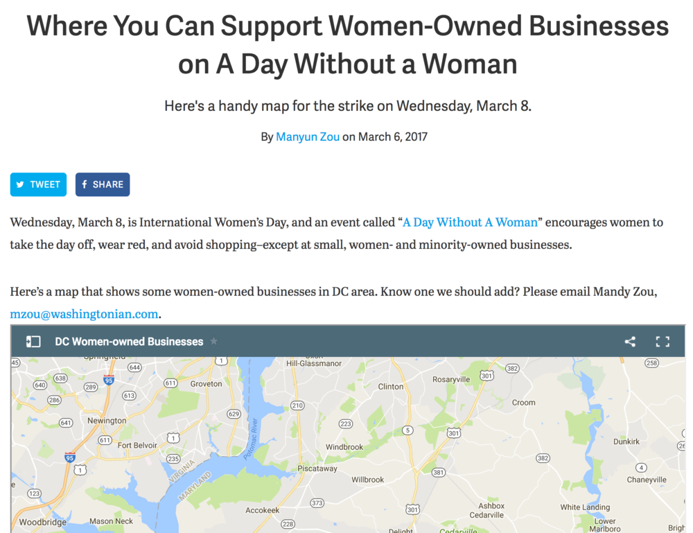 "3.6 Washingtonian ""Where You Can Support Women-Owned Businesses on a Day Without A Woman,"" by Mandy Zou"