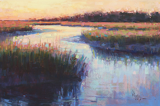 "Low Tide Sunset  pastel on Wallis Museum Grade 12 x 18"" by Alain J. Picard"